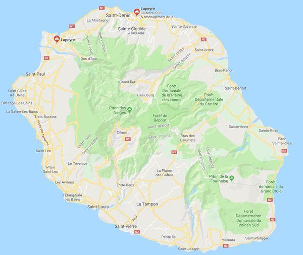 Carte des magasins Lapeyre à la Réunion